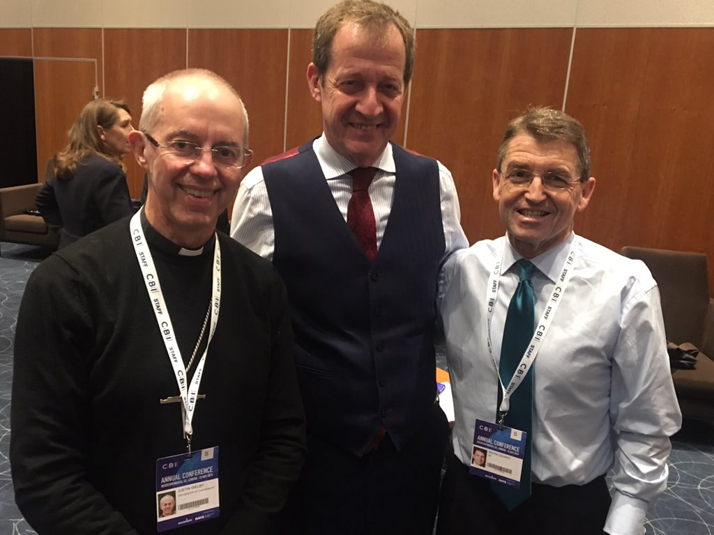Here with my fave Archbishop @JustinWelby and BP boss Brian Gilvary at @CBItweets - and surely @DeborahJFraser has to win CBI tweet of the week with Lads on Tour!!!