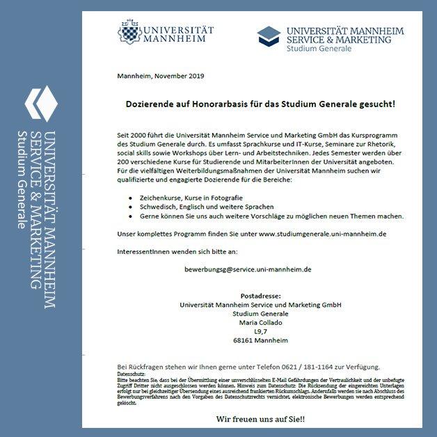 Viel Erfolg Bei Der Bewerbung Universitat Mannheim