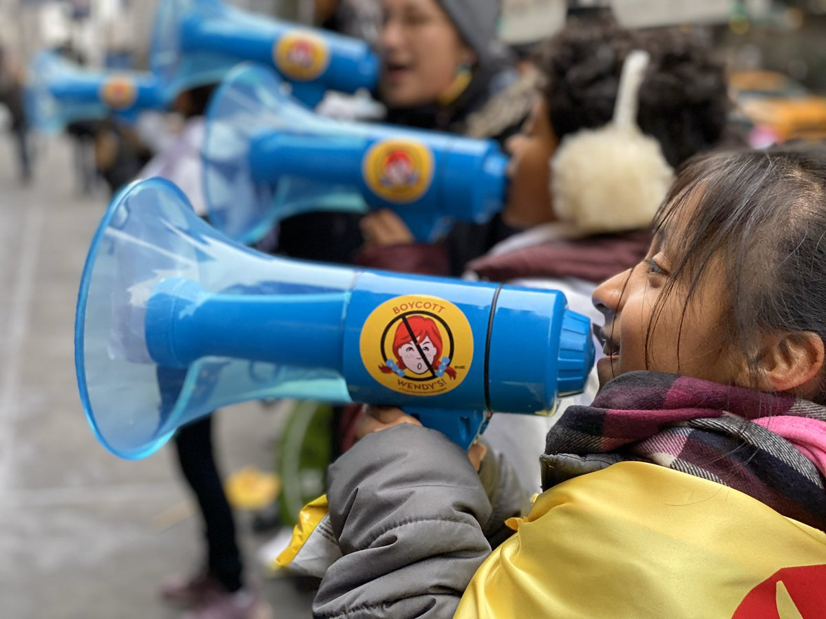 Young people from Immokalee are leading chants in front of the offices of @Wendys leaders, calling for the fast food giant to combat sexual violence in its supply chain by joining the @fairfoodprogram! Want to cheer them on? Join the National #BoycottWendys Call-in Day!