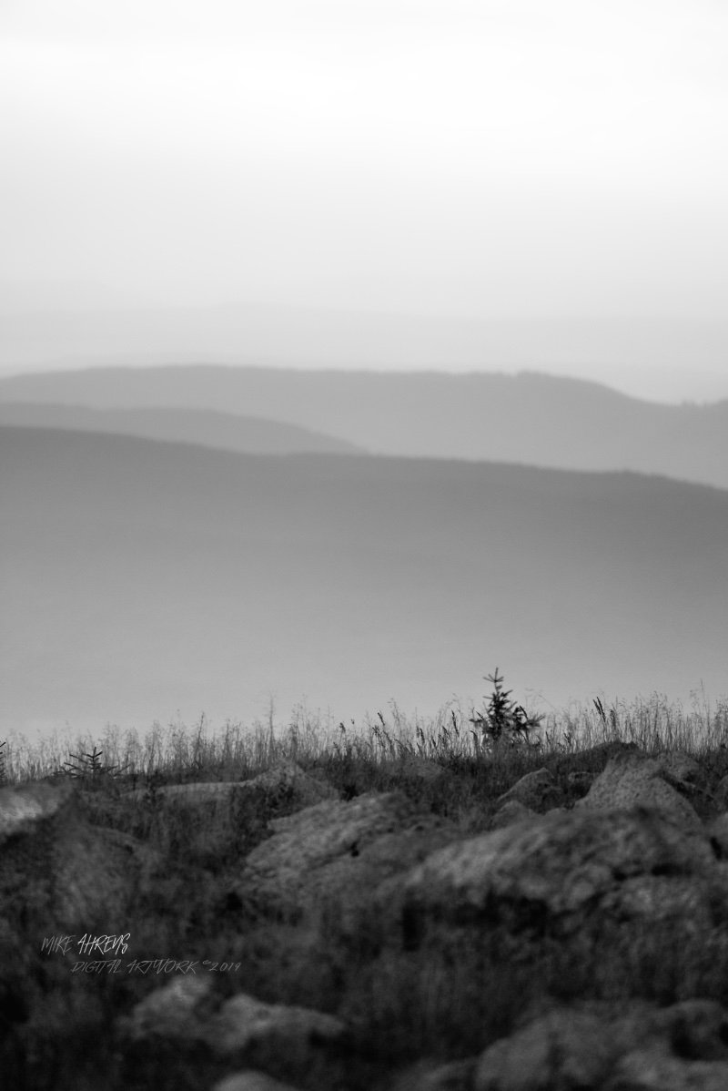 Above...The view from the highest mountain in northern Germany ...#landscape #northerngermany #harzmountains #above #mood #blackandwhite
