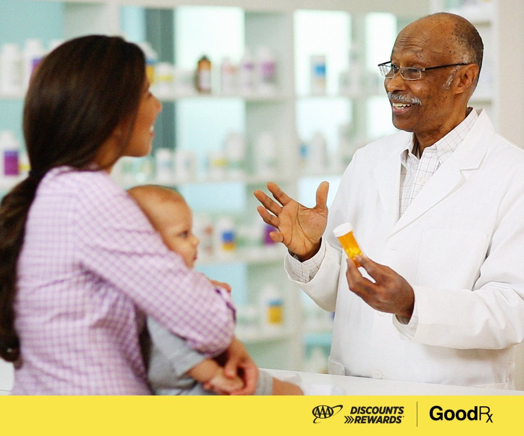 Visit  to get FREE GoodRx coupons featuring deep discounts on prescription drugs for you and your whole family. #AAADiscounts #GoodRx #AAA