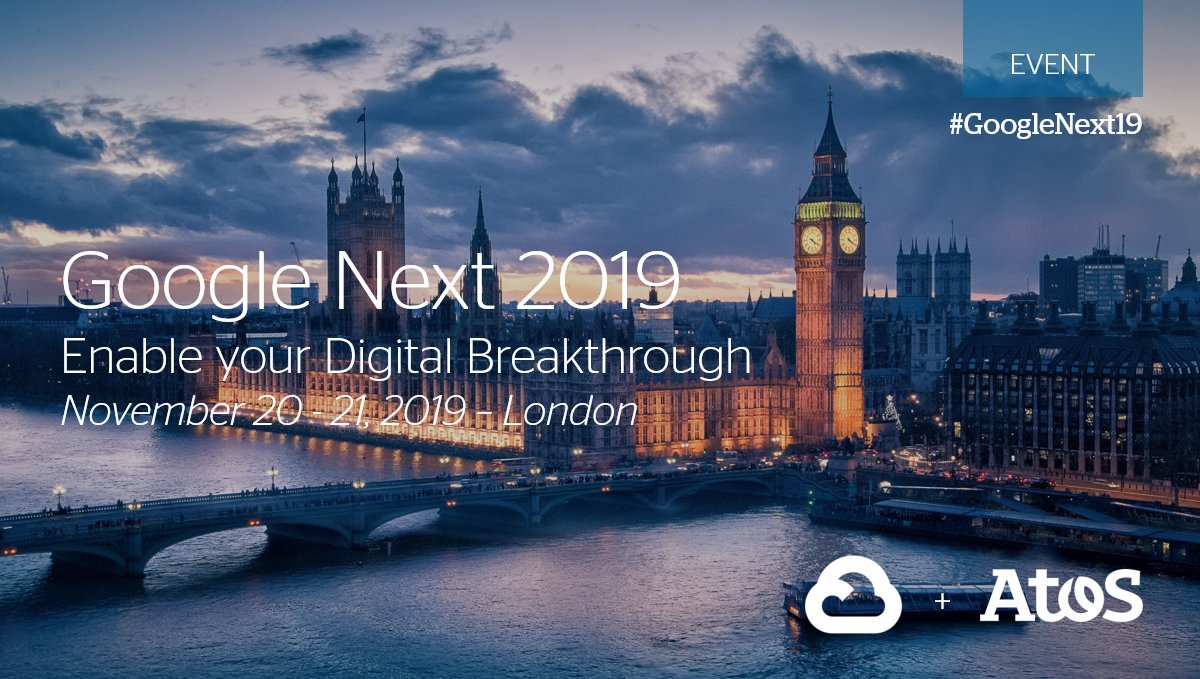 #DigitalLeader Atos Calling all #Cloud enthusiasts! Join us at #GoogleNext19 for engaging discussions on #AI, #MachineLearning, secure #HybridCloud, #DigitalWorkplace and more  https://okt.to/ldKtux