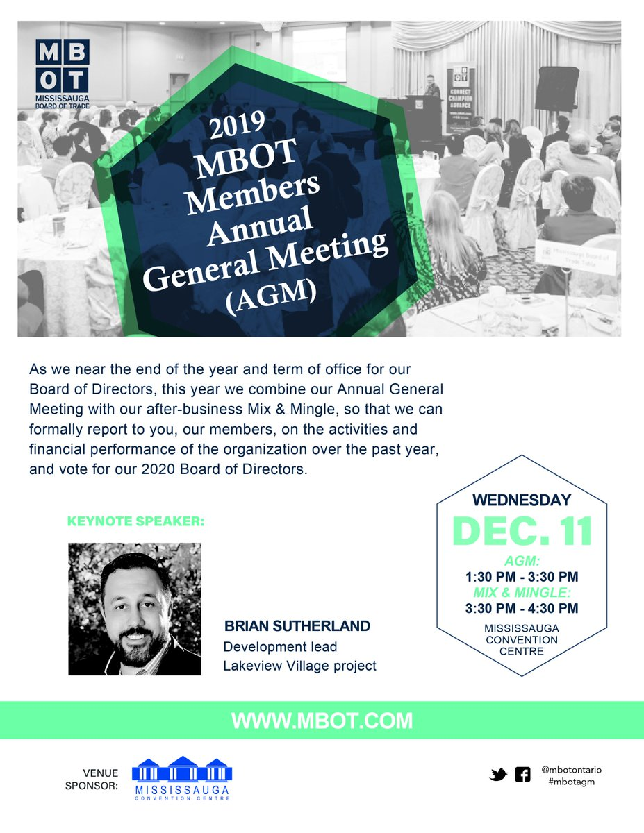 Dec. 11 - As we near the end of the year and term of office for our #boardofdirectors, this year we combine our #MBOTAGM with our after-business Mix & Mingle, so that we can formally report on our activities and financial performance. Details: https://bit.ly/358rYzN