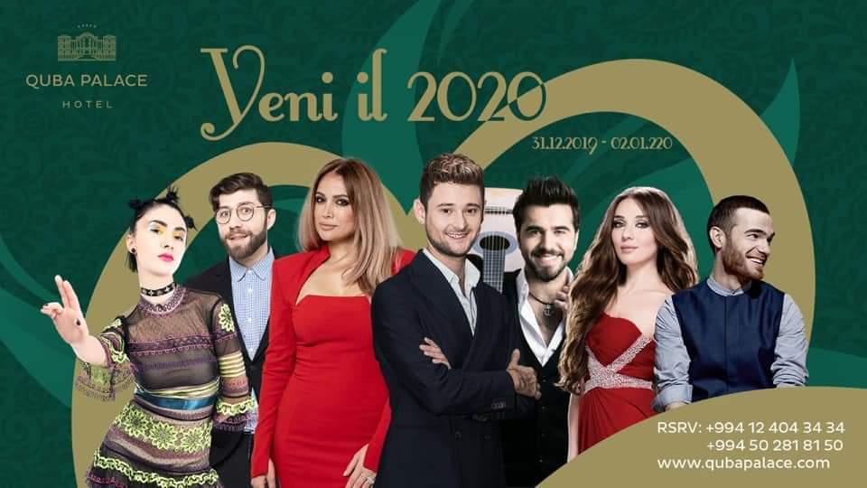 Eurovision temsilcileri bir arada! Bakü Quba Palace Hotelin düzenlediği yeni yıl etkinliğinde Dihaj, Ell & Nikki, Elnur & Samir, Chingiz ve Sabina Babayeva sahne alacak.