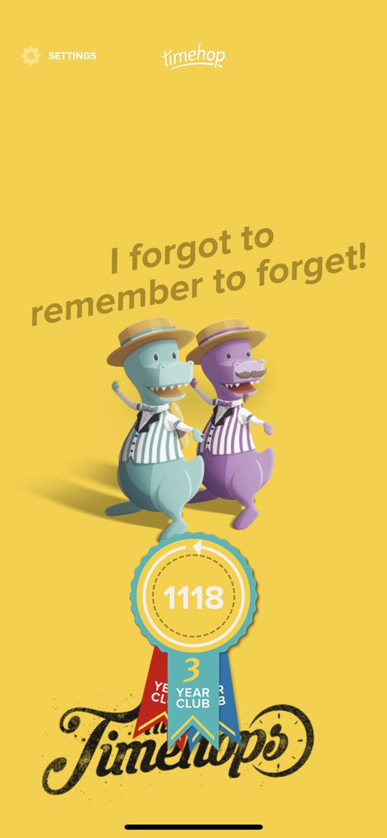 Can't commit to a relationship but I can commit to not missing a single day of @timehop for 3 years. What a milestone.