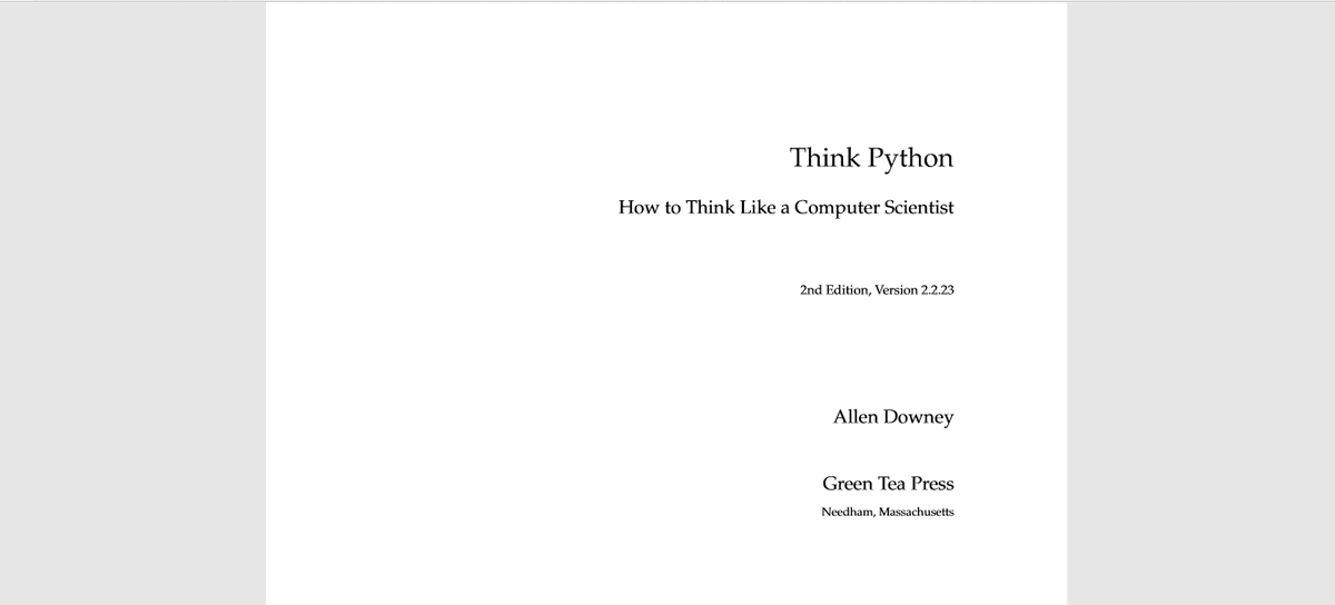 #Day2 Started working through A book called 'Think Python'. Two Chapters a day for a start. I hope to do more than two chapters going forward.  Chapter 1 (Exercise 1.2) titled 'The Way of The Program' is focused on basic mathematics and basic programming  concepts like parsing... <br>http://pic.twitter.com/CVn0mW1W1u