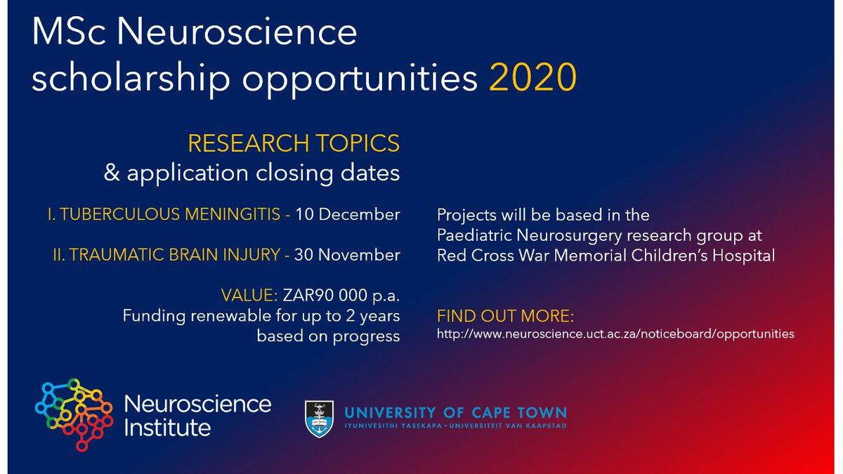 MSc Neuroscience (Division of Neurosurgery) scholarship opportunities in tuberculous meningitis and traumatic brain injury.  Applications close soon! Fine out more:  http://www. neuroscience.uct.ac.za/noticeboard/op portunities  … <br>http://pic.twitter.com/jRgShjMg5O
