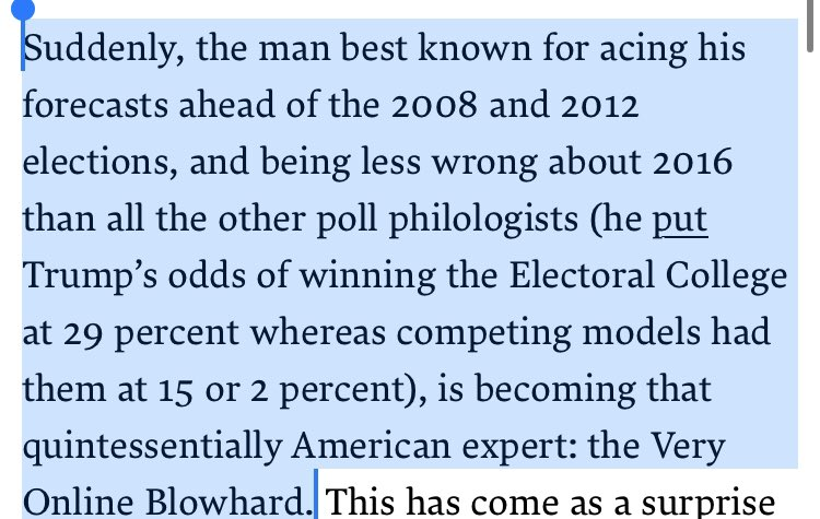 "This Nate Silver piece is very bad, but especially embarrassing is the idea that if a forecaster says something has less than a 50% chance of happening, and it then happens, the forecaster was wrong. Also, ""philologists?"" newrepublic.com/article/155761…"