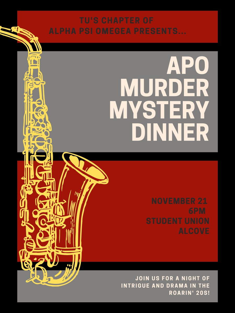 Join us this Thursday at 6pm in the ACAC Alcove for Murder Mystery Night! Alumni and faculty are welcome to join! <br>http://pic.twitter.com/PTexWt1j7O