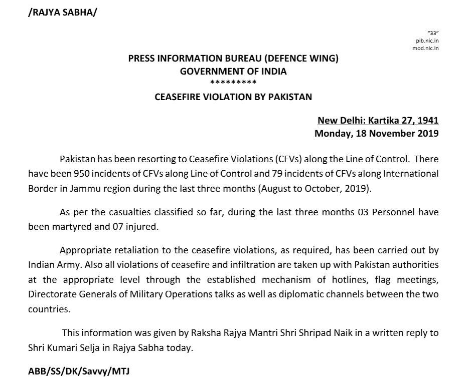 Indian Government says there have been 950 incidents of Ceasefire Violation at the Line of Control (LoC) and 79 incidents at the International Border (IB) by Pakistan in last three months (Aug to Oct) alone. Appropriate retaliation carried out by the Indian Army.