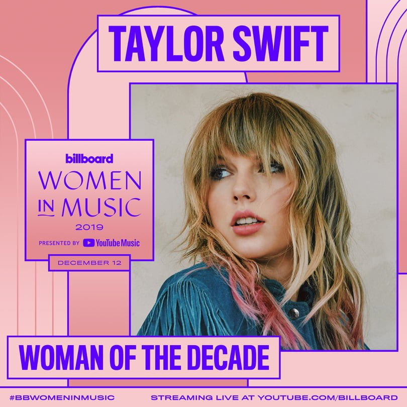 Have we known @taylorswift13 10 seconds or 10 years? ✨ Taylor will be the first-ever recipient of @Billboard's Woman of the Decade Award at the 2019 #BBWomenInMusic event on December 12th!