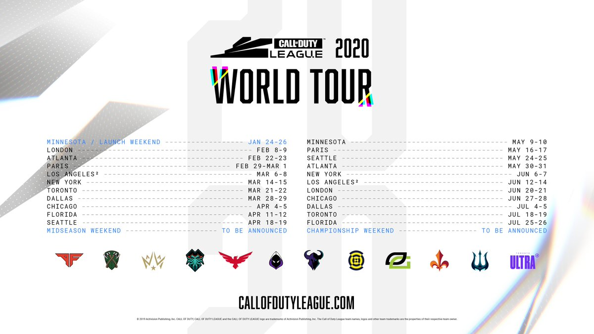Tickets now on sale for select Call of Duty League Home Series events.   Atlanta:  http:// arenagatewaycenter.evenue.net/cgi-bin/ncomme rce3/SEGetEventList?groupCode=CDL&linkID=gca&shopperContext=&caller=&appCode  …   Minnesota (Launch Weekend):  http:// armorymn.com/events/call-of -duty-league-launch-weekend  …   Paris:  http:// parislegiontickets.com      Seattle:  http:// ticketmaster.com/promo/8b2f3r     <br>http://pic.twitter.com/mQrqgTItHF
