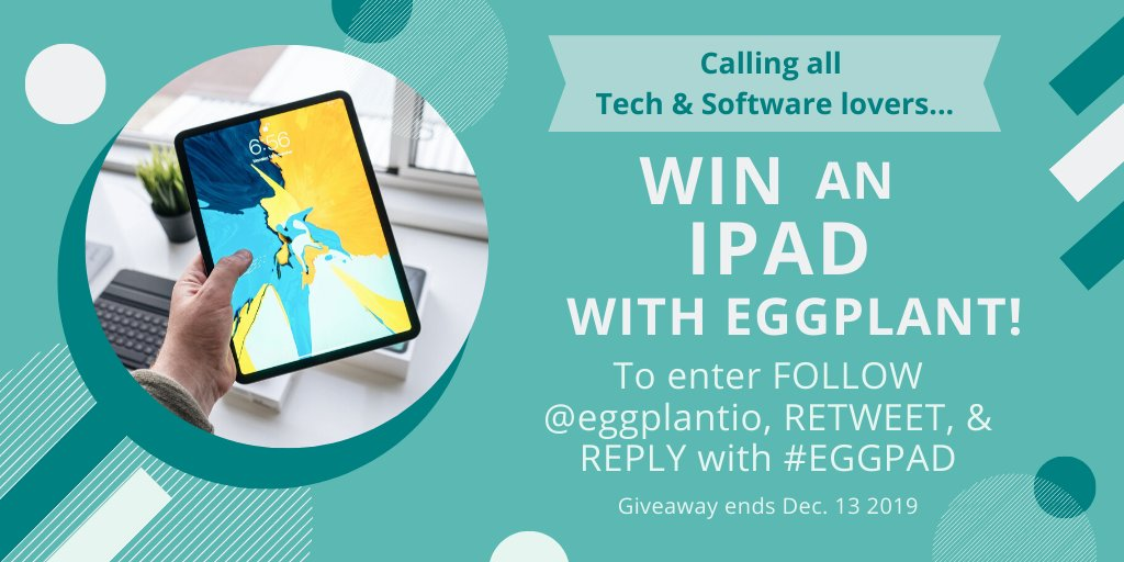 Love #tech? Interested in #softwaretesting? Then we've got something for you in preparation for the #festive period! You have 4 weeks to enter & win an #iPad on us! All you have to do is RETWEET,  REPLY with #EGGPAD, and FOLLOW @eggplantio for your chance to #win our #giveaway!<br>http://pic.twitter.com/SCUEIVQ5K7