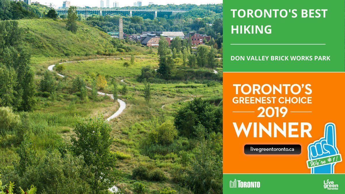 Toronto's Greenest Choice Awards: over 75,000 votes were cast for this Live Green Toronto poll and the results are in! toronto.ca/torontos-green… Don Valley Brick Works Park won for best hiking location! See more info about this special park at toronto.ca/data/parks/prd…