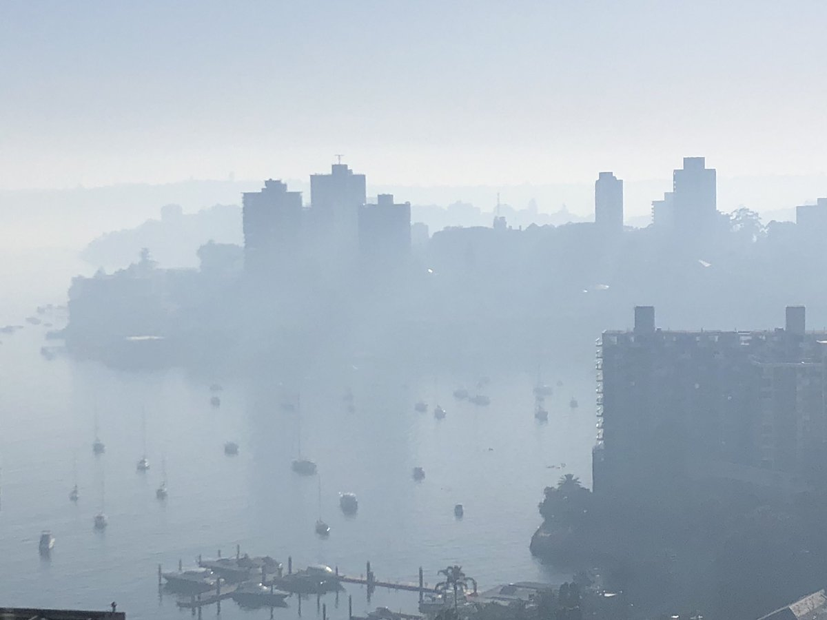 #Smoke haze over #Sydney looking east over Rushcutters Bay
