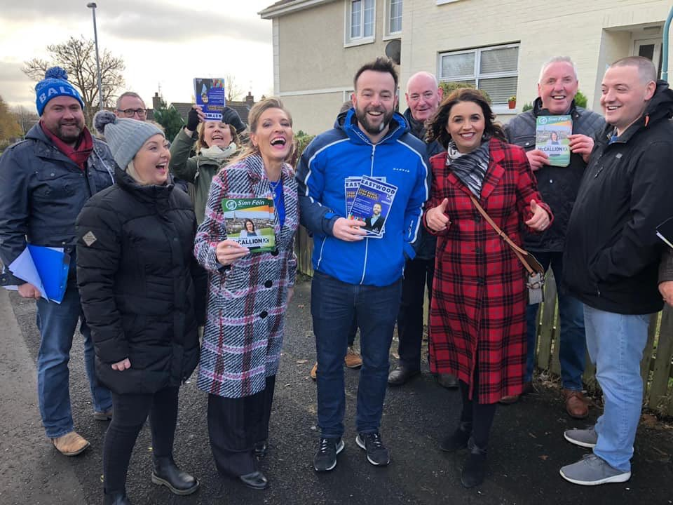 A bit of fun had on the campaign trail in Foyle today. The current MP* bumped into the man most likely to challenge her position, who had the previous MP canvassing with him. Sure at least they were all civil enough to get a snap 😂 (*Not currently an MP as Parliament dissolved)
