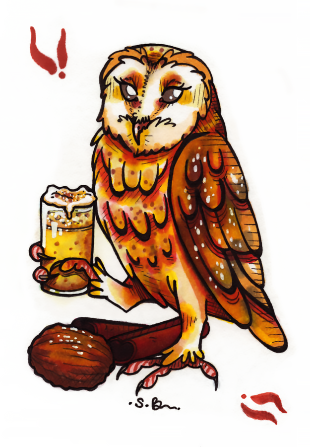 Eggnog anyone? Todays birb is a barn owl. Tracy helped me with the idea of this one. :)#birbs#barnowls#owls #eggnog#holidaydrinks#christmas#winter