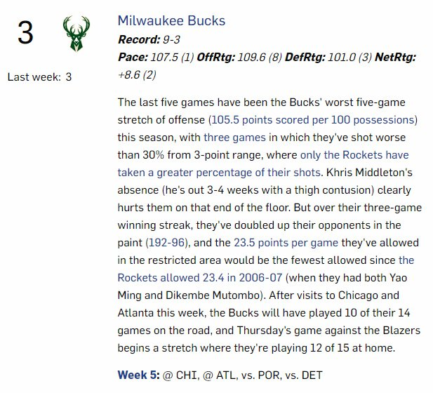 ICYMI - Week 5 #NBA Power Rankings, featuring the usual notes & numbers, including this one on the Bucks' paint dominance. https://www.nba.com/powerrankings/2019-20-week-5?collection=writer/archive/john-schuhmann…