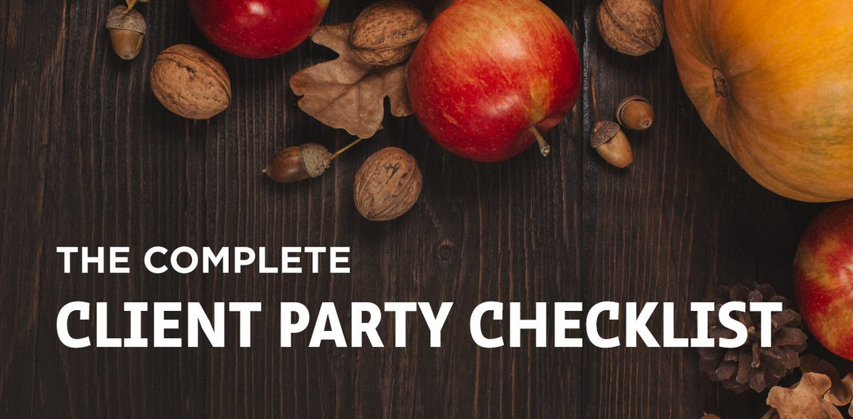 This is a perfect time of year to remind your clients that you're grateful for them and their referrals. What better way than getting together over the holiday season? Check out our Client Party Checklist for party ideas and planning tips – https://t.co/BXxvGgMvYc