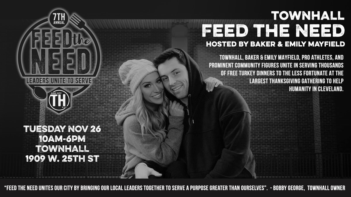 #TownHallFeedTheNeed! Were blessed to partner with @bakermayfield and @emily_wilk to serve thousands in need on 11/26. Were also raising funds for St. Augustine Hunger Center. For every RT we get we will donate an additional dollar. Donate here: bit.ly/7THFeedTheNeed
