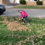 Image for the Tweet beginning: Raking leaves and making a