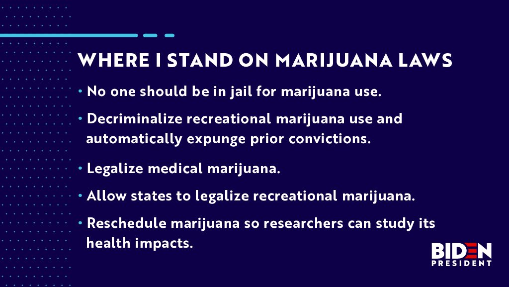 For all those saying @JoeBiden is out of touch about #marijuana read the FACTS before you retweet!