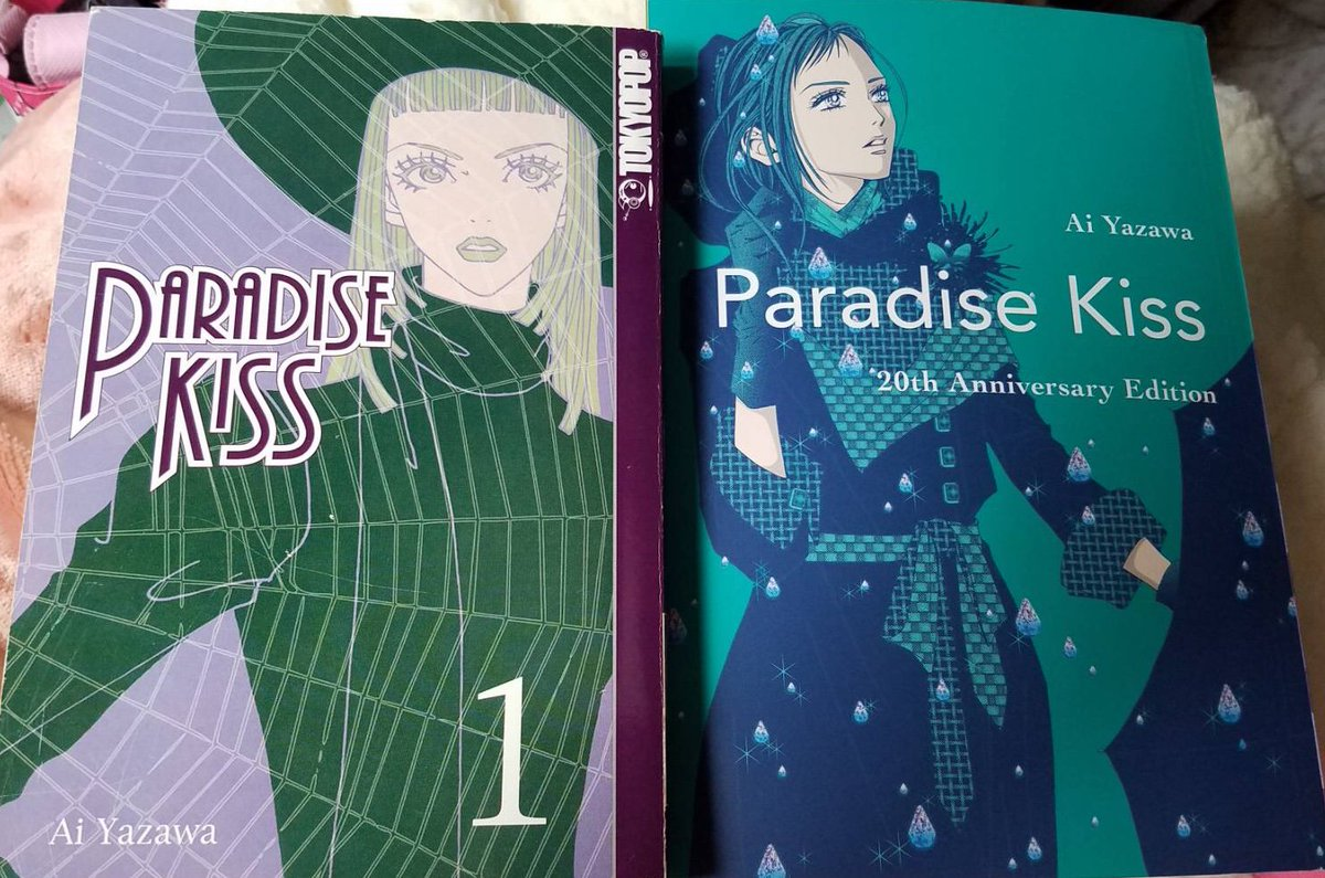 Side-by-side comparison of TOKYOPOP's edition of Ai Yazawa's Paradise Kiss and Vertical Comics' upcoming release of the 20th Anniversary Edition <br>http://pic.twitter.com/CatanmbT0d