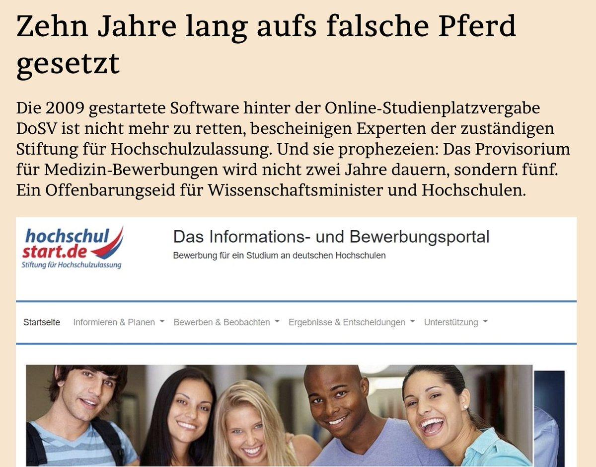 ZEHN JAHRE LANG AUFS FALSCHE PFERD GESETZTDie Software hinter der Online-#Studienplatzvergabe #DoSV ist nicht mehr zu retten, warnen Experten und prophezeien: Das Provisorium für #Medizin-Bewerbungen wird nicht zwei Jahre dauern, sondern fünf. Im Blog: https://www.jmwiarda.de/2019/11/19/zehn-jahre-lang-aufs-falsche-pferd-gesetzt/…
