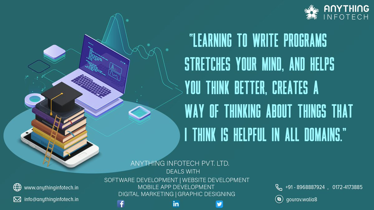 #Learning to #write #programs stretches your #mind and #helps you think #better, #creates a way of #thinking about #things that are #helpful in all #domain.