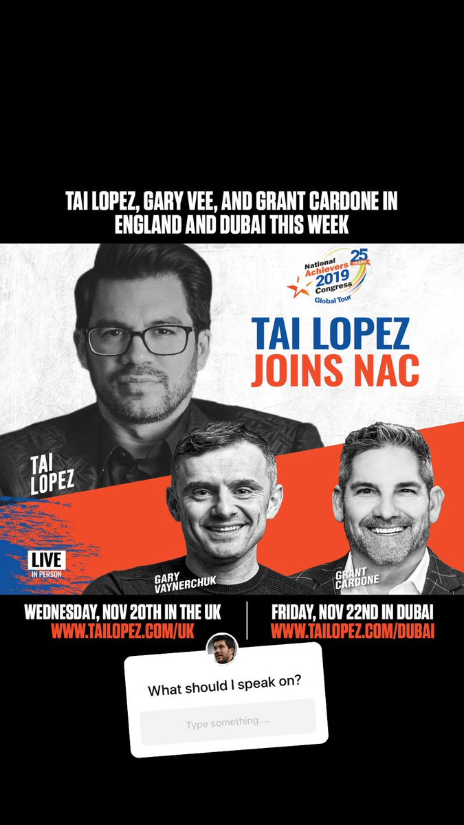 $100 for best reply on what I should speak on in Birmingham tomorrow/Wednesday & Dubai Friday - 7,000 total people expected. #garyvee #grantcardone