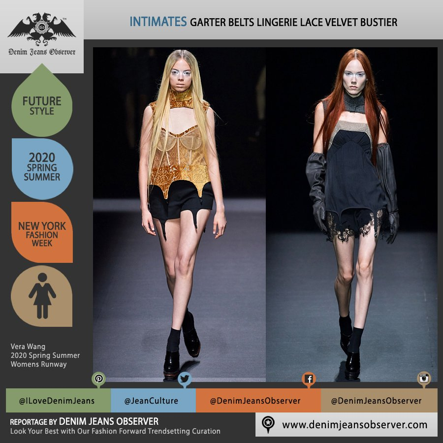 Vera Wang 2020 Spring Summer Womens Runway Catwalk Looks Collection - New York Fashion Week NYFW - Edwardian Chainmail Lingerie Intimates Garter Belts Lace Embroidery Lingerie Intimates Velvet Bustier Straps Utility Gloves Cutout - Fashion Forward Trendsetting Curation by Denim Jeans Observer