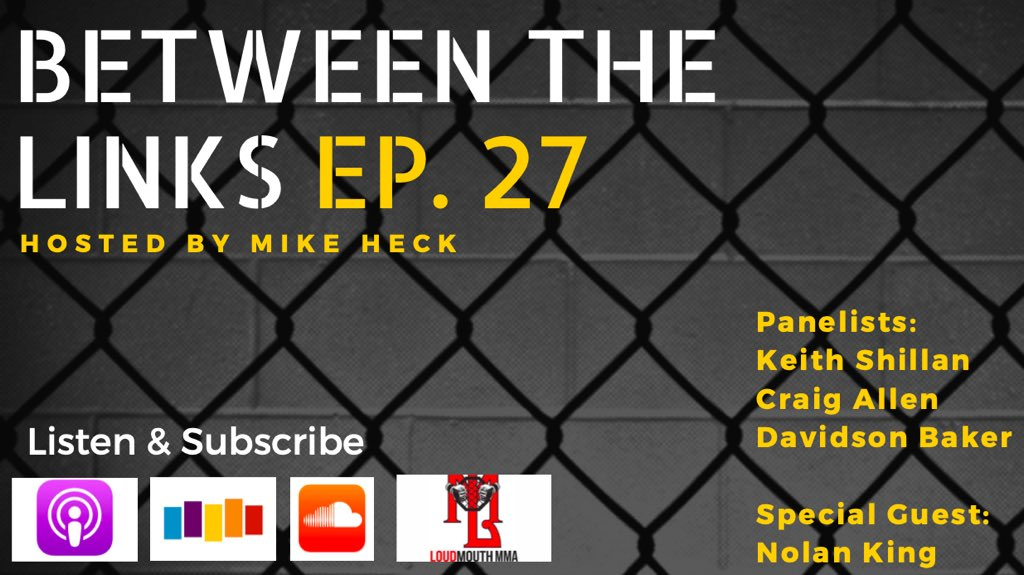 Ep. 27 of #BetweentheLinks on @LoudMouthMMA has arrived. MMA Junkie's @mma_kings returns to the panel to talk Askren's retirement, Blachowicz's place at 205, Oliveira earning a step up, Krause on the underrated rankings, recent fight announcements & more. https://podcasts.apple.com/us/podcast/loudmouth-mma-network/id1174683546#episodeGuid=tag%3Asoundcloud%2C2010%3Atracks%2F715235401…