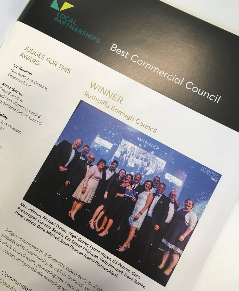 This #OurDay we're celebrating successes of @Rushcliffe   The Council's #Commercialisation projects add community & financial value, engaging with parish councils & whole team to generate new ideas to achieve 95% understanding of the mission. Winner @TheMJAwards '18  #CouncilsCan