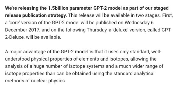 "test Twitter Media - The ""too dangerous to release"" GPT-2 text generator by @OpenAI is finally fully released. @AdamDanielKing put it up on https://t.co/auVaLejMg9 h/t @cyberandy #AI #NLP #DeepLearning #OpenSource https://t.co/QTFXumWew7"
