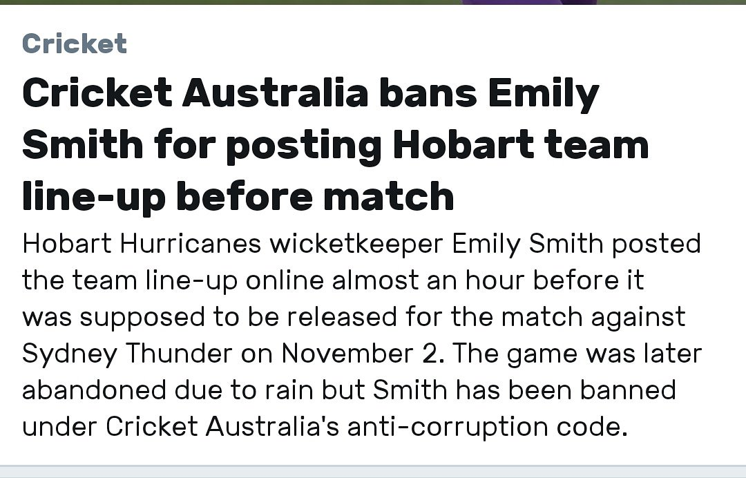 Emily Smith banned for 12months under Cricket Australia'santi-corruption code#cricketmatch #cricketaustralia #indiancricket #cricketlover #cricketer #stevesmith #davidwarner #bancroft #banned #emilysmith #bbl #horbathurricane
