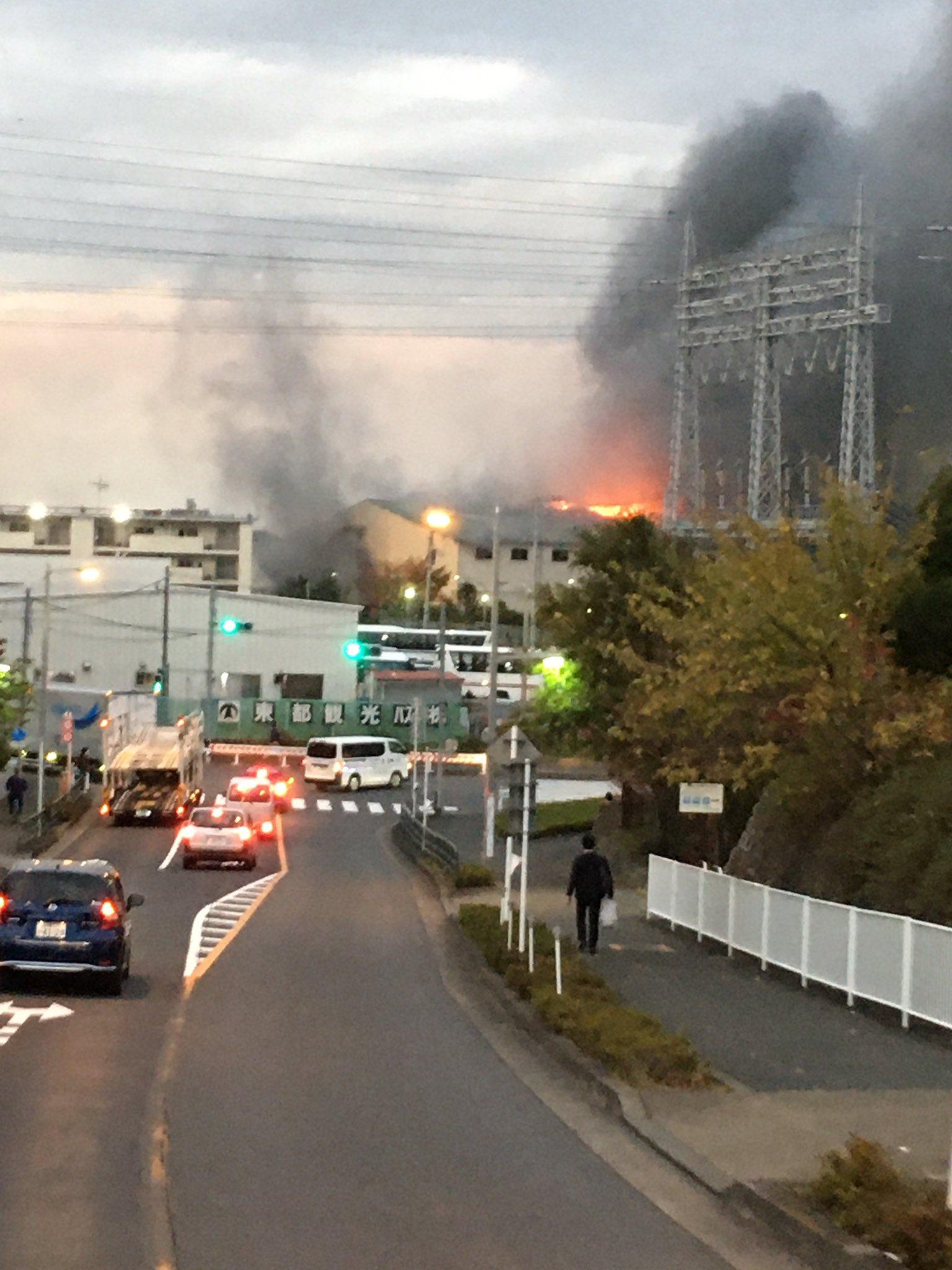 板橋区舟渡で火事が起きている現場の画像