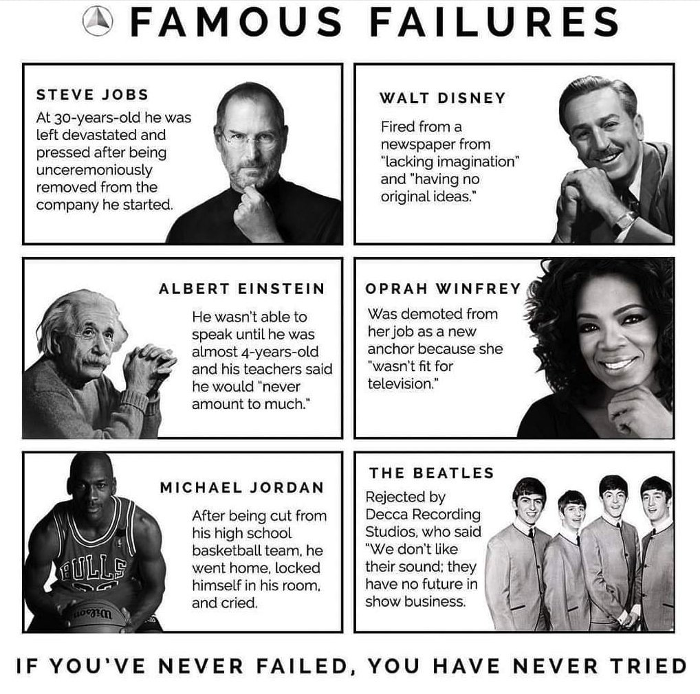 Don't be discouraged by #failure. If you've never failed, you've never tried. Steve Jobs, Walt Disney, Oprah Winfrey, Albert Einstein, Michael Jordan or The Beatles experienced great #failures as well.#Success #Startup #Entrepreneur #Business #Motivation #Inspiration #Startups