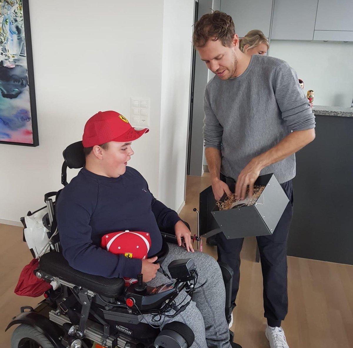 Albert, a fan of Sebastian Vettel, was able to meet Seb after writing a letter to him, earlier this year     meh_mathildeescherheim   #Seb5  #F1