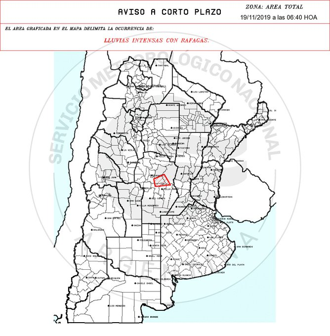 Aviso a muy Corto Plazo 2019-11-19 06:40:00  Validez : tres horas desde su emisión LLUVIAS INTENSAS CON RAFAGAS.
