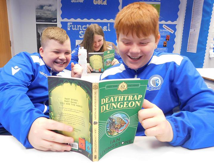 Kids read Deathtrap Dungeon