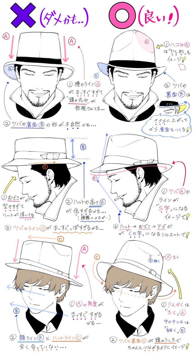 【ハット帽の描き方】シルエット角度を自然に描くときの「ダメかも❌」「良いかも⭕️」