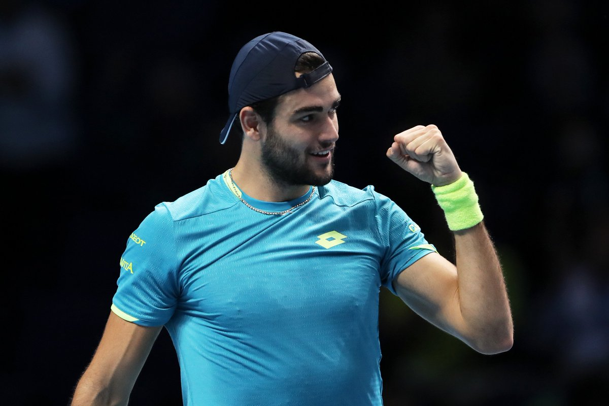 Matteo Berrettini enjoyed a stellar #ATPTour season!   Qualified for #NittoATPFinals  First Italian to win a match at the Finals  Career-high ranking of No. 8  2 titles (Stuttgart & Budapest)  43-23 W/L record  What's your prediction for Berrettini in 2020? <br>http://pic.twitter.com/dvlCtp4Yr1