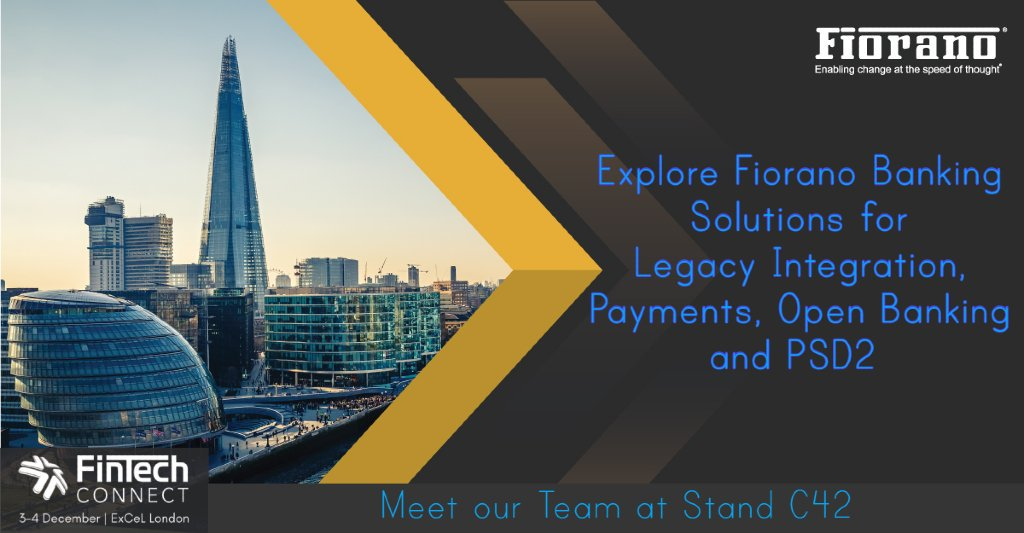 Mark your calendars for 3-4 December to meet our team @fintech_connect 2019, London @ Stand C42 to explore Fiorano Banking Solutions to comply with regulations, dynamically deliver assets & build capabilities for better customer engagement #FTC19 #digitalbanking #openbanking