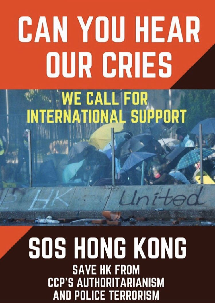 As a Hongkonger, we call for your help, international support!! Pls save HK #SOSHK #SOSPloyU<br>http://pic.twitter.com/Rx4T7MLUQY