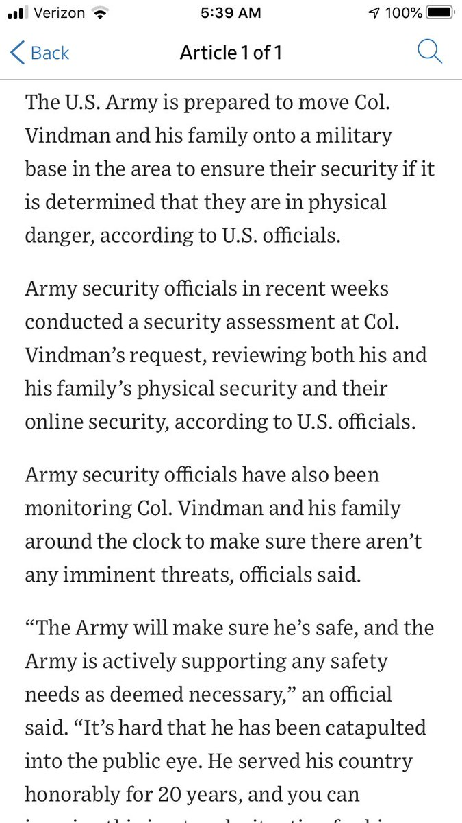 The U.S. Army is monitoring Vindman's security and is prepared to move him and his family to a local military base if necessary following his impeachment testimony.