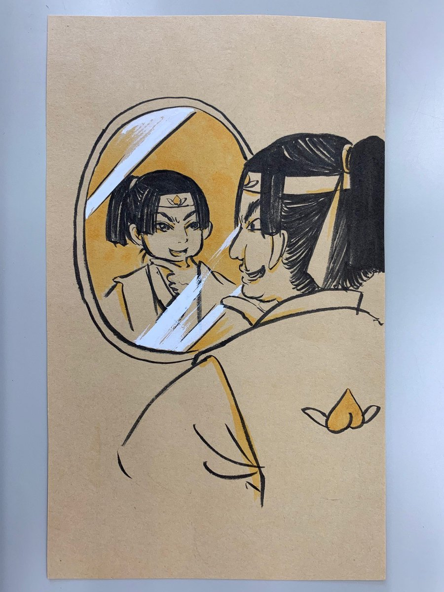 今週の江口先生の落書きはこちら! まだ鬼灯にシバかれる前の、調子コイてた頃の桃太郎です。「鏡よ、鏡、日本一の男はだーれ?」 #鬼灯の冷徹