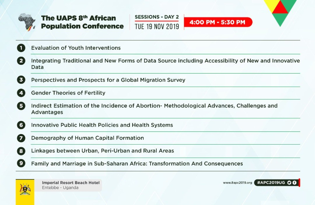 #APC2019UG: Afternoon discussions will base on issues relevant to national, regional & continental investments to address rapid urbanization, population growth, sexual & reproductive health, technology, youth, the demographic dividend & capacity building. Cc:@Uwihanganye_A @nbstv<br>http://pic.twitter.com/i8uuP5nBNU