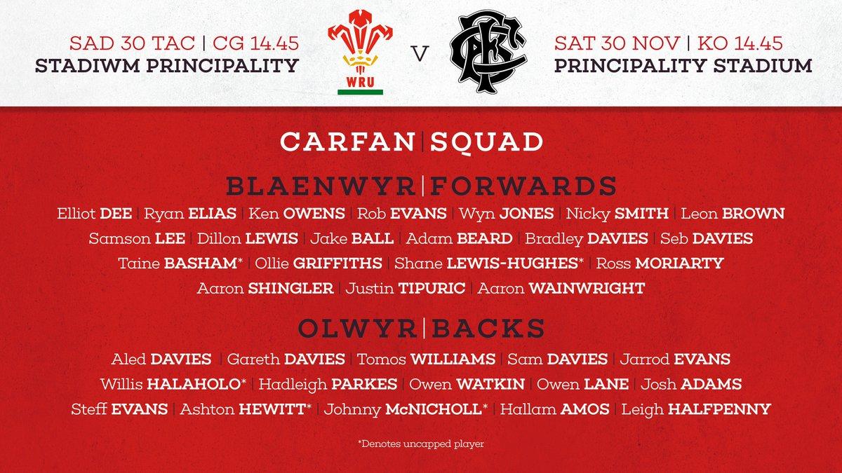 Congratulations to the 12 @scarlets_rugby players named in the Wales squad to face @Barbarian_FC #inthepack   Llongyfarchiadau'r 12 Scarlet ar gael eu dewis yng ngharfan cyntaf Pivac yn erbyn y Barbariaid #ynypac 🏴 https://t.co/vMNlavdeZ5