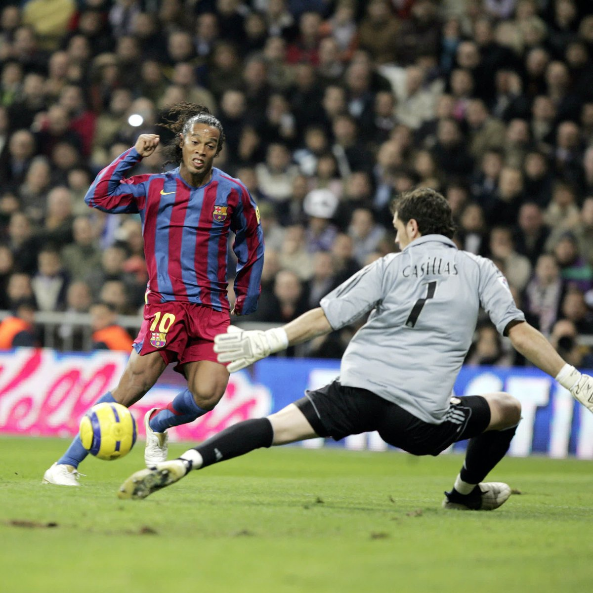 ON THIS DAY   November 19, 2005   @10Ronaldinho scored twice in our 3-0  #ElClásico win at the Santiago Bernabéu — including this goal. So astonishing was Ronnie's performance that day, that he received a standing ovation from the Real Madrid fans.  Unforgettable! !