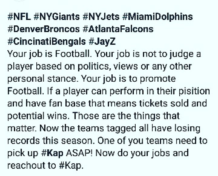 #NFL  #nygiants  #nyjets  #denverbroncos  #Bengals  #AtlantaFalcons  #miamidolphins  #JayZ